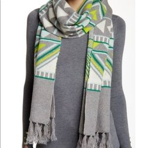 J CREW Geometric Fair Isle SCARF Wool Blend Gray